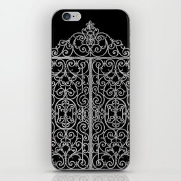 French Wrought Iron Gate | Louis XV Style | Black and Silvery Grey iPhone Skin