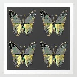 CHARCOAL GREY WESTERN STYLE BUTTERFLIES Art Print