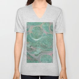Turquoise Marble Abstract Art Unisex V-Neck