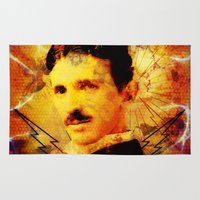 tesla Area & Throw Rugs featuring Famous People - Nikola Tesla by itsme23