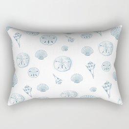 Beach Shells Drawing - Teal Pattern Rectangular Pillow