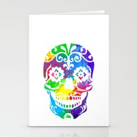 sugar skull Stationery Cards featuring Sugar Skull by Diana Arend
