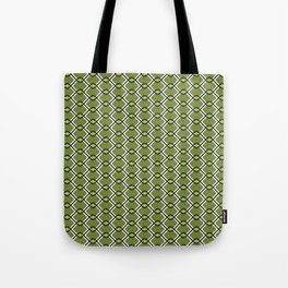 1960's Inspired Green, Yellow, Black and White Pattern Tote Bag