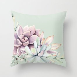 Beautiful Mint Succulents Throw Pillow