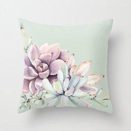 Beautiful Mint Succulents Throw Pillow