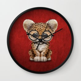 Cute Baby Leopard Cub Wearing Glasses on Deep Red Wall Clock