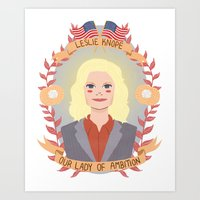 leslie knope Art Prints featuring Leslie Knope by heymonster
