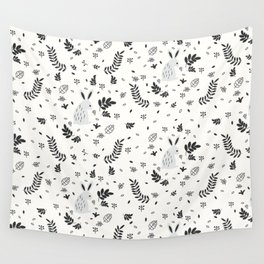 Hand painted cute black white rabbit watercolor floral Wall Tapestry