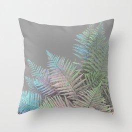 Rainbow Fern on Grey #decor #buyart #foliage Throw Pillow