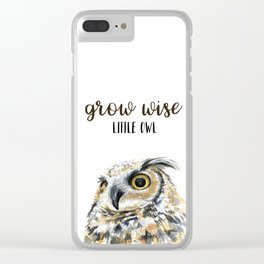 Grow Wise Little Owl Nursery Animals Art Great Horned Owl Clear iPhone Case