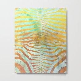 Zebra Stripes | Celadon & Gold | Watercolor Animal Print Art Metal Print