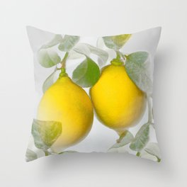 Yellow Citrons on Gray Background in Illuminating & Ultimate Gray Palette #decor #society6 #buyart Throw Pillow
