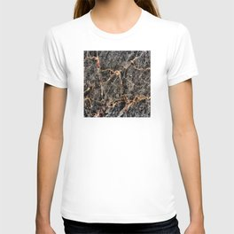 Luxurious Charcoal Black and Rose Gold Vein Marble T-shirt