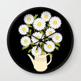 bouquet of camomiles in the vase on the black Wall Clock