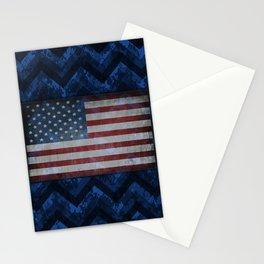 Cobalt Blue Digital Camo Chevrons with American Flag Stationery Cards