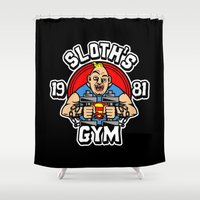 gym Shower Curtains featuring Sloth's gym by Buby87
