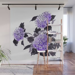 Hydrangea flowers sumie ink and watercolor painting Wall Mural