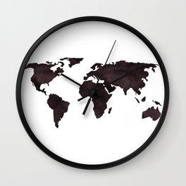 World Map Deep Brown Ink Watercolor Wall Clock