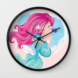 Little cute mermaid with fishes and seashells. Book illustration, t shirt graphics. Wall Clock