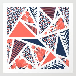 Coral Modern Geometric Pattern with Animal Print, Stripes and Flowers Art Print