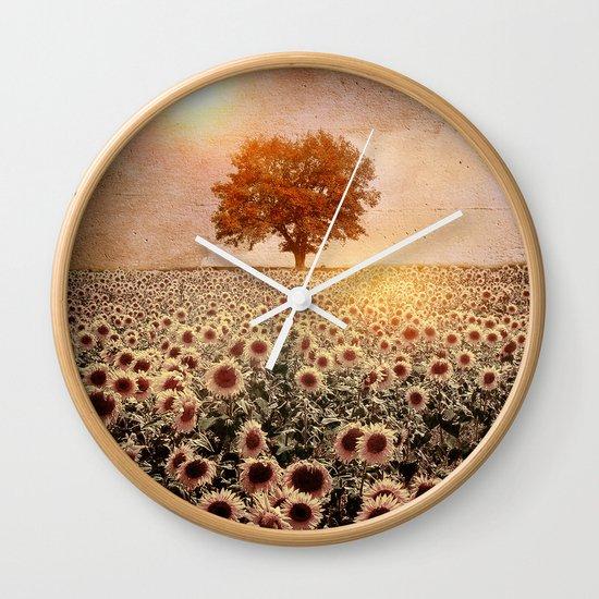 lone tree & sunflowers field (colour option) Wall Clock