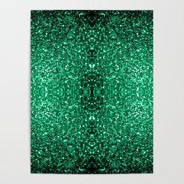 Beautiful Emerald Green glitter sparkles Poster