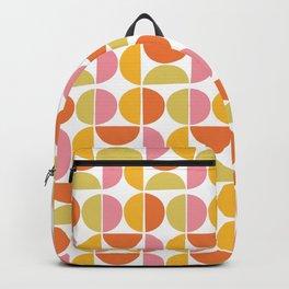 Mid Century Modern Pink Red Green Orange Geometric Backpack