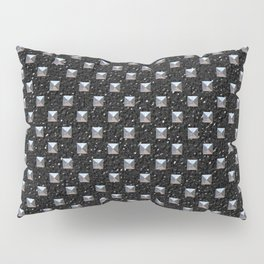 Metal Studs on Black Leather Pillow Sham
