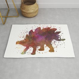 Stegosaurus dinosaur in watercolor Rug