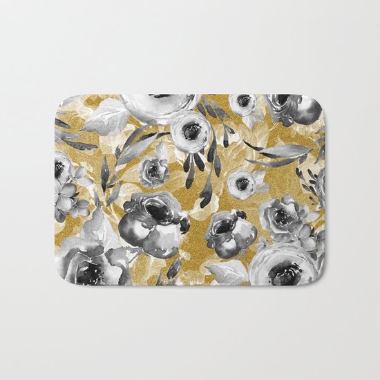 Black and white flowers with gold Bath Mat