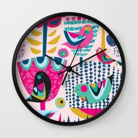 magic the gathering Wall Clocks featuring Gathering by Rachel Lee