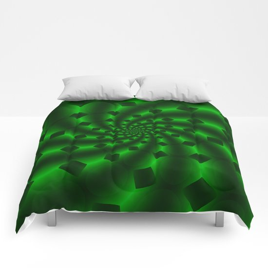 Tess Fractal in Magical Emerald Green Comforters