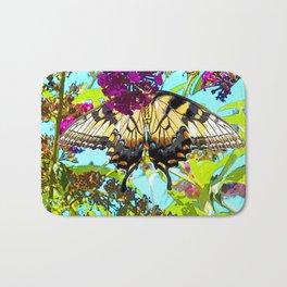 Yellow Butterfly Transparent in the Sun Bath Mat