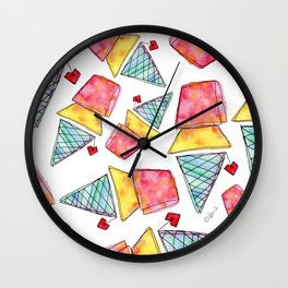 Love You More Than Ice Cream food illustration funny quote humor typography love painting Wall Clock