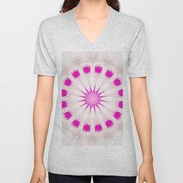 Bright Pink Simple Mandala Unisex V-Neck