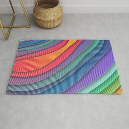 Colorful Abstract Waves and Stripes Rug