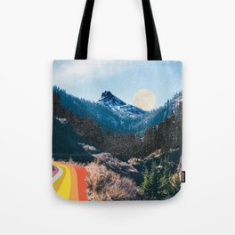 1960's Style Mountain Collage Tote Bag