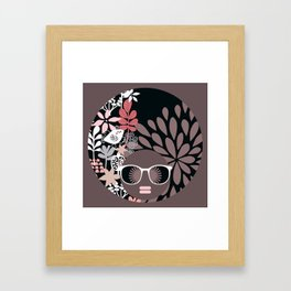 Afro Diva : Sophisticated Lady Pale Pink Peach Taupe Framed Art Print