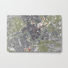 Rome city map engraving Metal Print