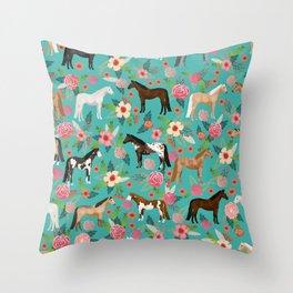Horses floral horse breeds farm animal pets Throw Pillow