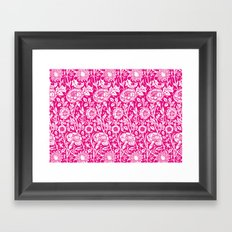 "William Morris Floral Pattern | ""Pink and Rose"" in Hot Pink and White Framed Art Print"