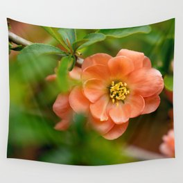 Coral Flowering Quince Bloom Wall Tapestry