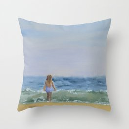 Girl on East Hampton Beach Throw Pillow