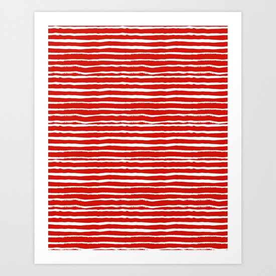 Minimal Christmas red and white holiday pattern stripes candy cane stripe pattern Art Print