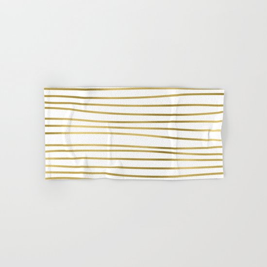 Small uneven gold stripes on clear white - horizontal pattern Hand & Bath Towel