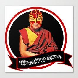 Wrestling Lama – Dalai Lama humor & Budism funny joke design Canvas Print