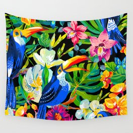 Tropical Parrots Wall Tapestry