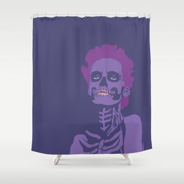 Skeleton Woman Plum Shower Curtain
