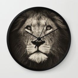 Mr. Lion king, beautiful monochrome lion head on dark background Wall Clock