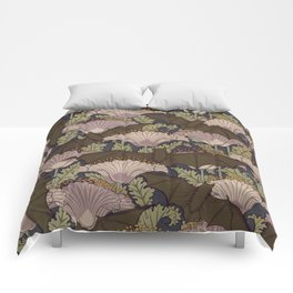 Vintage Art Deco Bat and Flowers Comforters